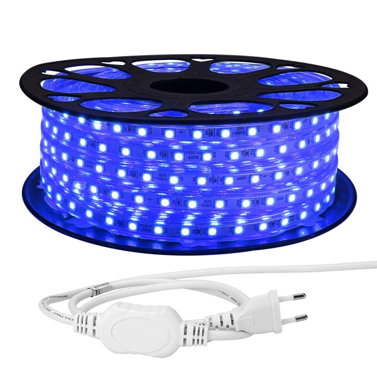 LE Striscia LED 25m 220V-240V, Blu Super Luminoso, Luci Decorative Esterne Impermeabili IP65