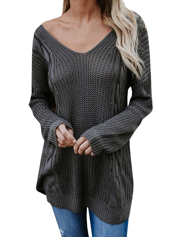 Sunmmwery Women Oversized Sweaters Long Sleeve Loose Fit V Neck Back Criss Cross Knit Pullover Jumpers Tops Grey Medium