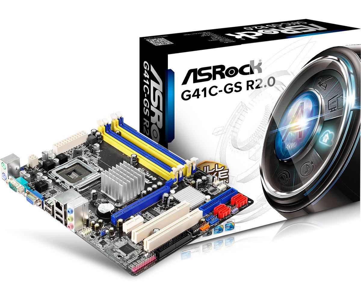 ASRock G41C-GS LGA 775 G41 DDR2+DRR3 8GB Micro ATX Motherboard by ASRock