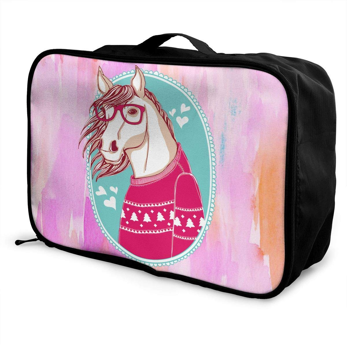 Portable Luggage Duffel Bag Horse Pink Travel Bags Carry-on In Trolley Handle