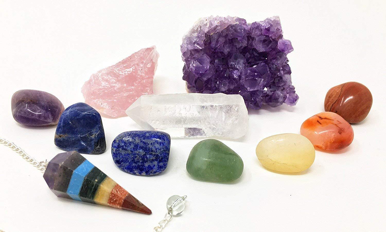 11 pcs Chakra Crystal Healing Kit/Lot of 7 Chakra tumbles, Chakra Pendulum, Amethyst Cluster, Raw Rose Quartz, and Crystal Point/Bohemian Meditation Set by HappyAura