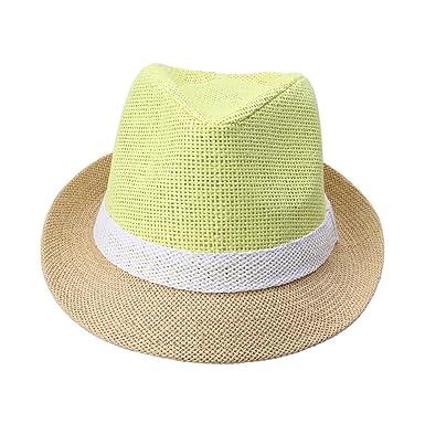 5f58a8b41db JTC Ladies Men Straw Fedora Trilby White Band Hat Summer Beach Panama Jazz  Cap Yellow  Amazon.co.uk  Clothing