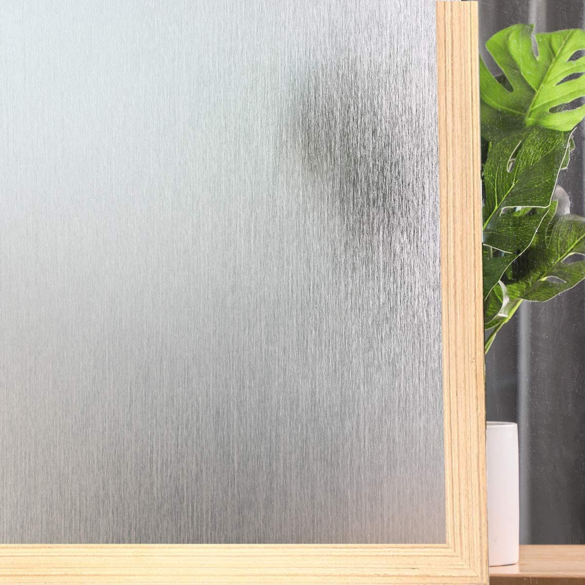 "Privacy Window Film No Glue Frosted Glass Sticker for Home Office Static Anti-UV Window Paper Decorative Window Covering for Bathroom (Silk White, 17.5"" x 78.7"")"