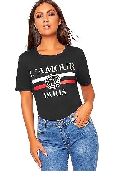 9dfdd39a WearAll Women's L'Amour Paris Slogan Print Round Neck Short Sleeve Top Ladies  T-