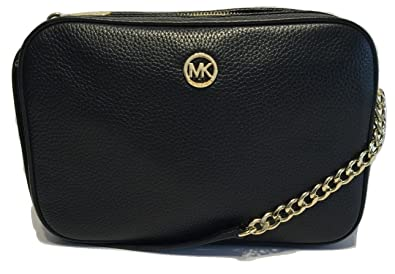 e09a27debe82 Michael Kors Women's Fulton Large EW Leather Cross Body Bag (Black ...