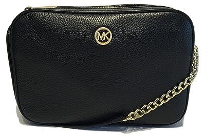 cdd045f343fc Michael Kors Women's Fulton Large EW Leather Cross Body Bag (Black ...