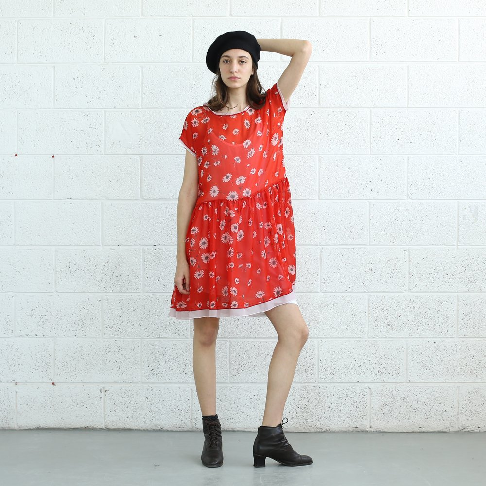 DAISY PRINT DRESS, Red dress.