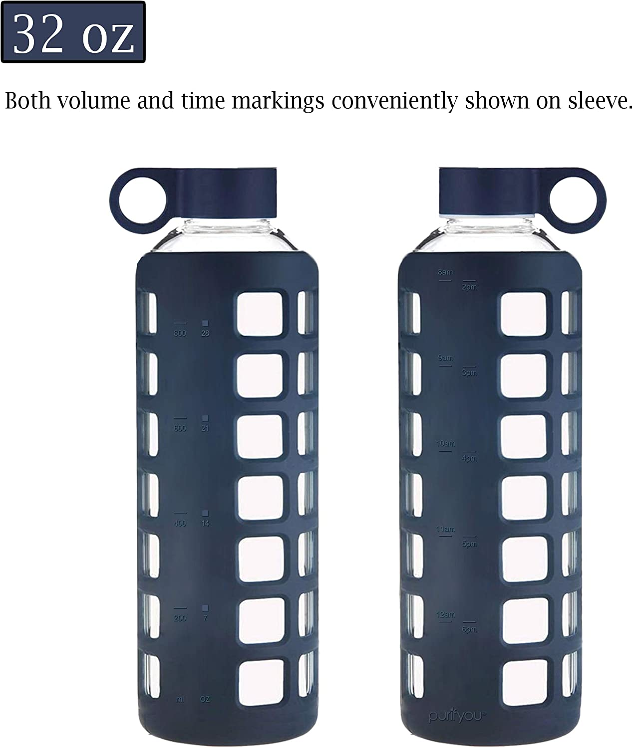 32 oz 12//22 purifyou Premium Glass Water Bottle with Non-Slip Silicone Sleeve and Stainless Steel Lid Insert