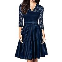 Mmondschein Women Vintage 1930s Style 3/4 Sleeve Black Lace A-line Party Wedding Dress