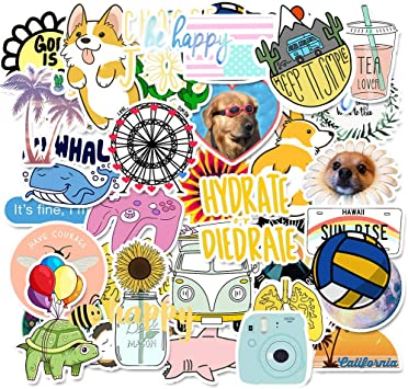 50 Pieces series-16 Mai Zi Stickers for Water Bottles 50 pcs Vsco Stickers Laptop Stickers Pack Cute Aesthetics Stickers for Teens Girls
