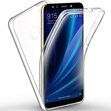 AROYI Funda Xiaomi Mi A2 / Xiaomi Mi 6X, Ultra Slim Doble Cara Carcasa Protector Transparente Silicona TPU Resistente Anti-Arañazos Protectora Case ...