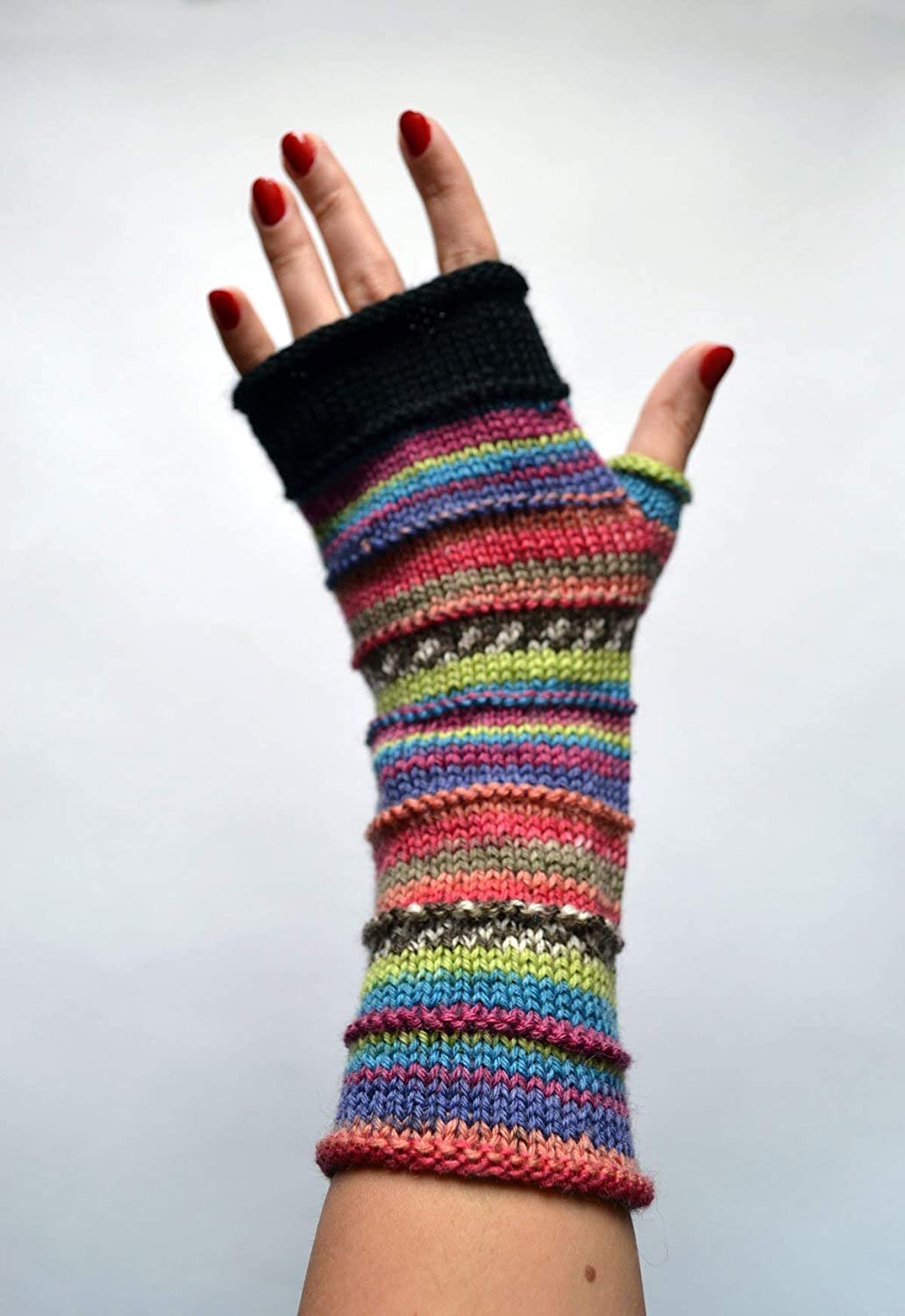 Soft wool hand knit colorful fingerless nO 49.