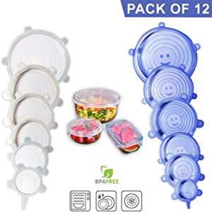 Direct From Factory Silicone Stretch Lids, 12 Pack – BPA Free, Food Storage Container Cover for Bowl, Mugs, Pots, Cans, Cups, Jar – Reusable Food Hugger, Durable, Expandable to Fit Most Sizes & Shapes