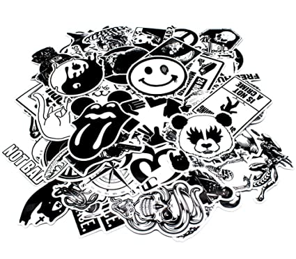 Nuoxinus laptop stickers 100pcs black white car stickers skateboard luggage bike motorcycle bumper