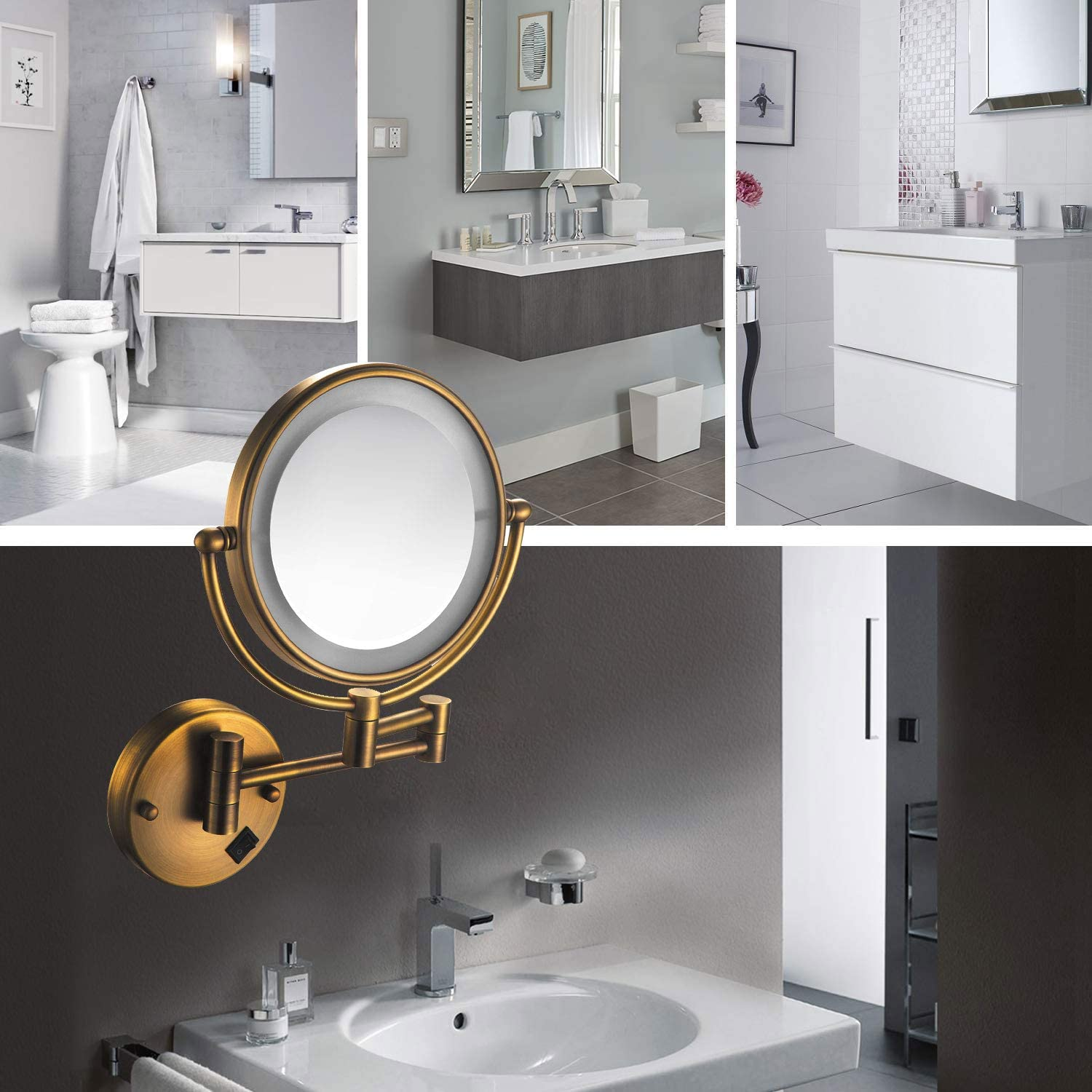 with Matte Black Finish 360/° Swivel 11 Extension Having in Bedroom Or Bathroom Makeup Mirrors Wall Mount 8 Inch Double-Sided 5X Magnifying LED Lighted Mirror