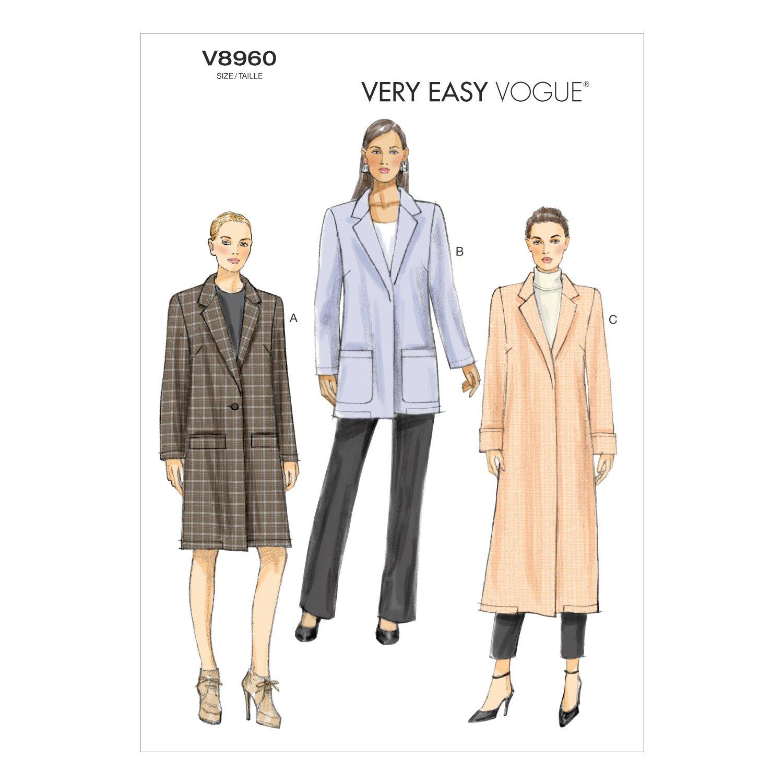 Amazon.com: Vogue Patterns V8960 Misses\' Coat Sewing Template, Size ...