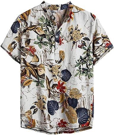 Luckycat Hombre de algodón Lino Camisa de Manga Corta Camisa Hawaiana Señores Manga Corta Bolsillo Delantero Impresión de Hawaii Playa Camisas Hombre Verano Camiseta Floral Estampado Tops: Amazon.es: Ropa y accesorios