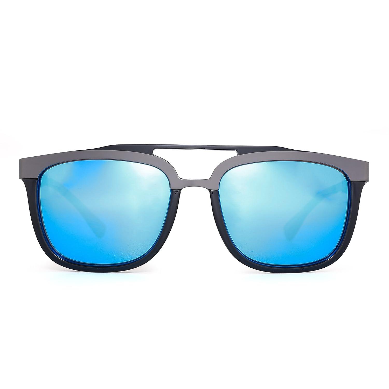 Gafas de Sol Rectangulares Diseñador Doble Puente Acero Inoxidable ...