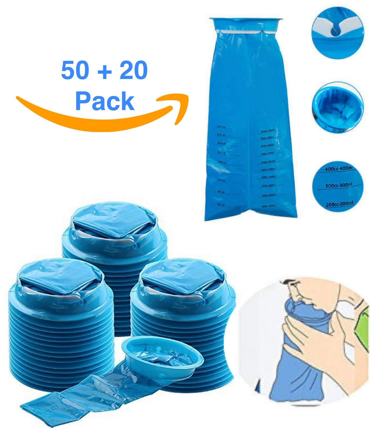 Vomit Bags for Car Disposable :: Emesis Bag :: Barf Bags Blue for Car Sick, Uber, Morning Sickness Multifunction 70 Count