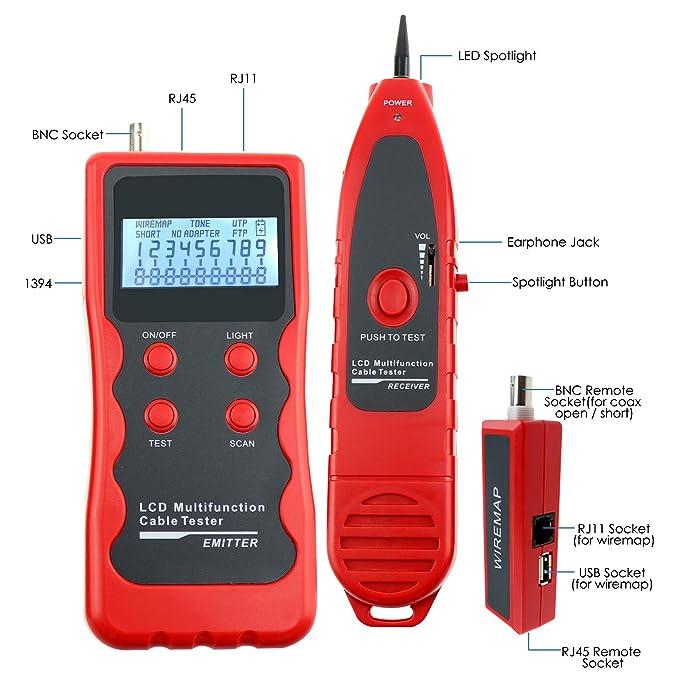 Red Ethernet RJ45 RJ11 STP UTP 5E 6E LAN Teléfono alambre coaxial BNC USB y la línea 1394 Cable Tester Checker Tracker: Amazon.es: Informática