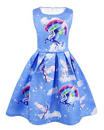 Cotrio Unicorn Dresses Little Girls Unicorn Rainbow Dress Toddler Unicorn Dress up Pleated Skirt Size 3T