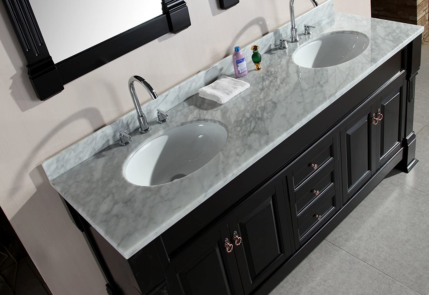 Design Element Marcos Double Sink Vanity Set Wih Crème Marfil Marble - Counter top bathroom sinks