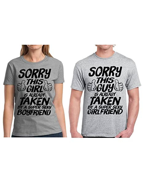 adb4f00d Amazon.com: Vizor Sorry This Guy/Girl Is Taken Shirts Couple Shirt Funny  Valentine Shirt For Couples Sexy Boyfriend/Girlfriend Shirt: Clothing