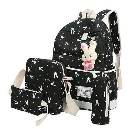 4356894b8c46 Amazon.com   scaling- Knapsack 4 Sets College Student Bag Women Girl ...