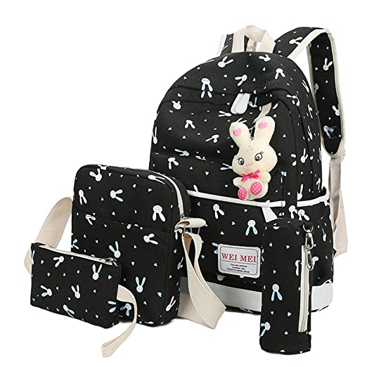 9aefe805f8 4 Pcs Teen Girls Cute Lightweight Canvas Backpack Set Rabbit Bookbag Laptop School  Backpack Shoulder Bag