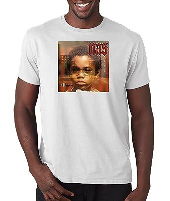 2b89f52f Nas Illmatic Album Cover T Shirt Classic Hip Hop Tee Rap Rapper Vintage  Style T-Shirt Nasir (White) - -: Amazon.co.uk: Clothing