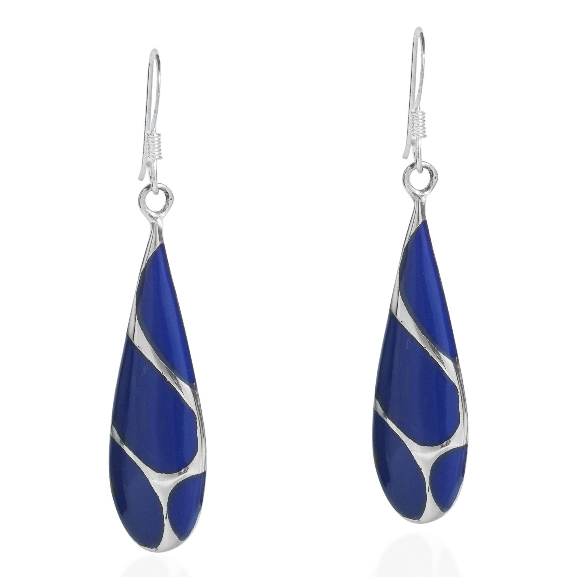 Vintage Simulated Blue Lapis-Lazuli Streak Teardrop .925 Sterling Silver Dangle Earrings