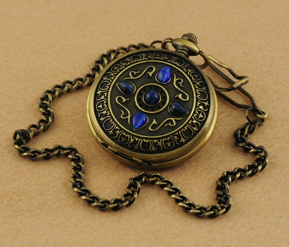 VIGOROSO Men's Vintage Noble Bronze Blue Stone Gold Skeleton Steampunk Mechanical Pocket Watch in Box 4
