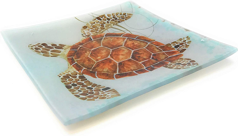 New Set of 3 Nautical Coastal Sea Turtle Glass Hand Painted Plates Trays Decor