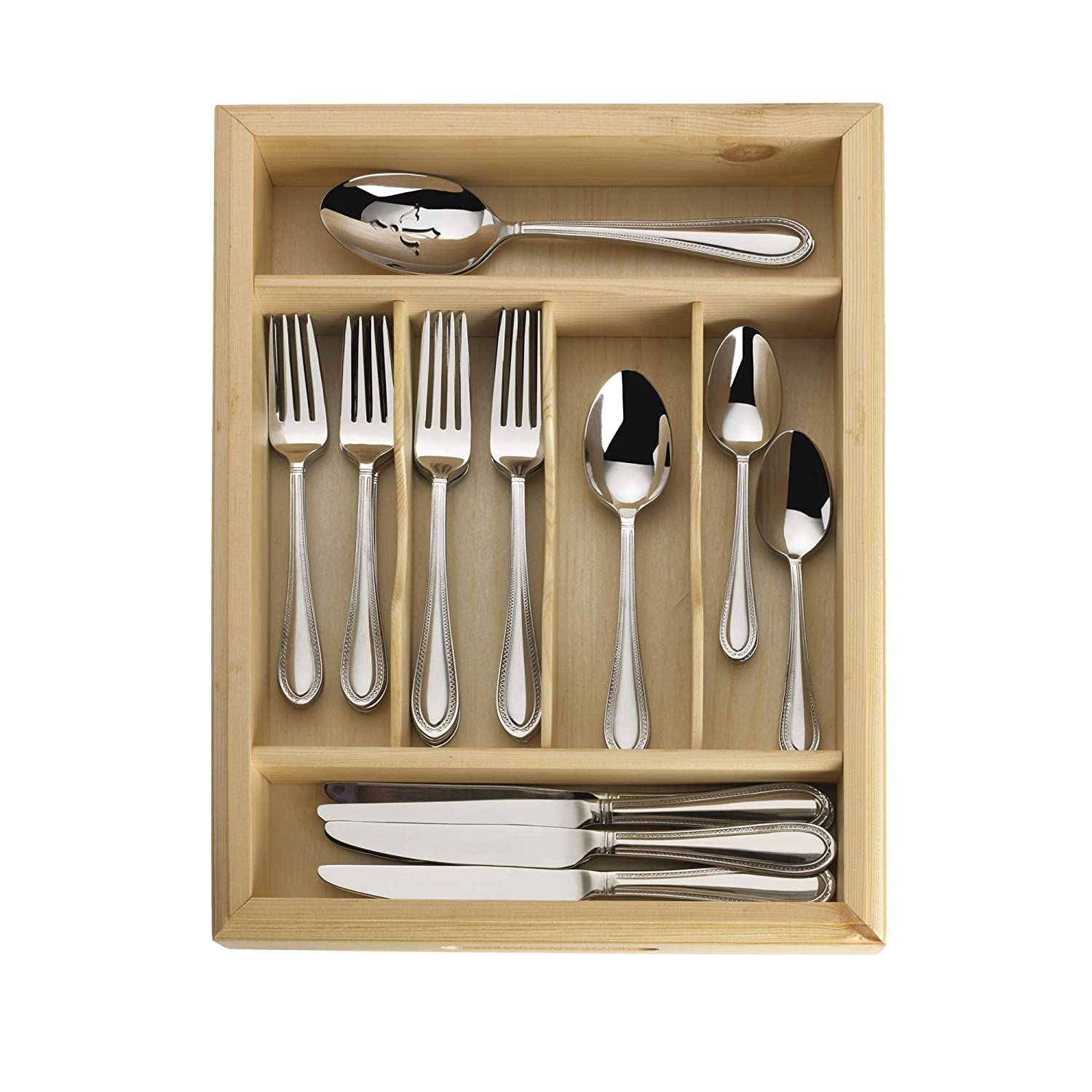 Service for 12 Mikasa Cocoa Blossom 65-Piece Stainless Steel Flatware Set with Serveware