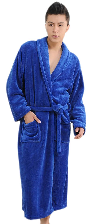 BIFINI Unisex Flannel Bathrobes Supersoft Plush Spa Robe, Royal Blue