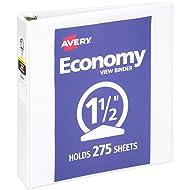 "Avery 1.5"" Economy View 3 Ring Binder, Round Ring, Holds 8.5"" x 11"" Paper, 1 White Binder (5726)"