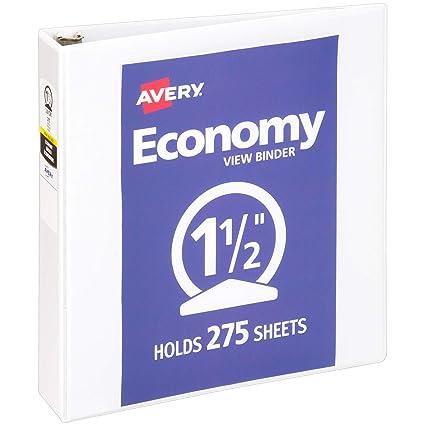 amazon com avery 1 5 economy view 3 ring binder round ring
