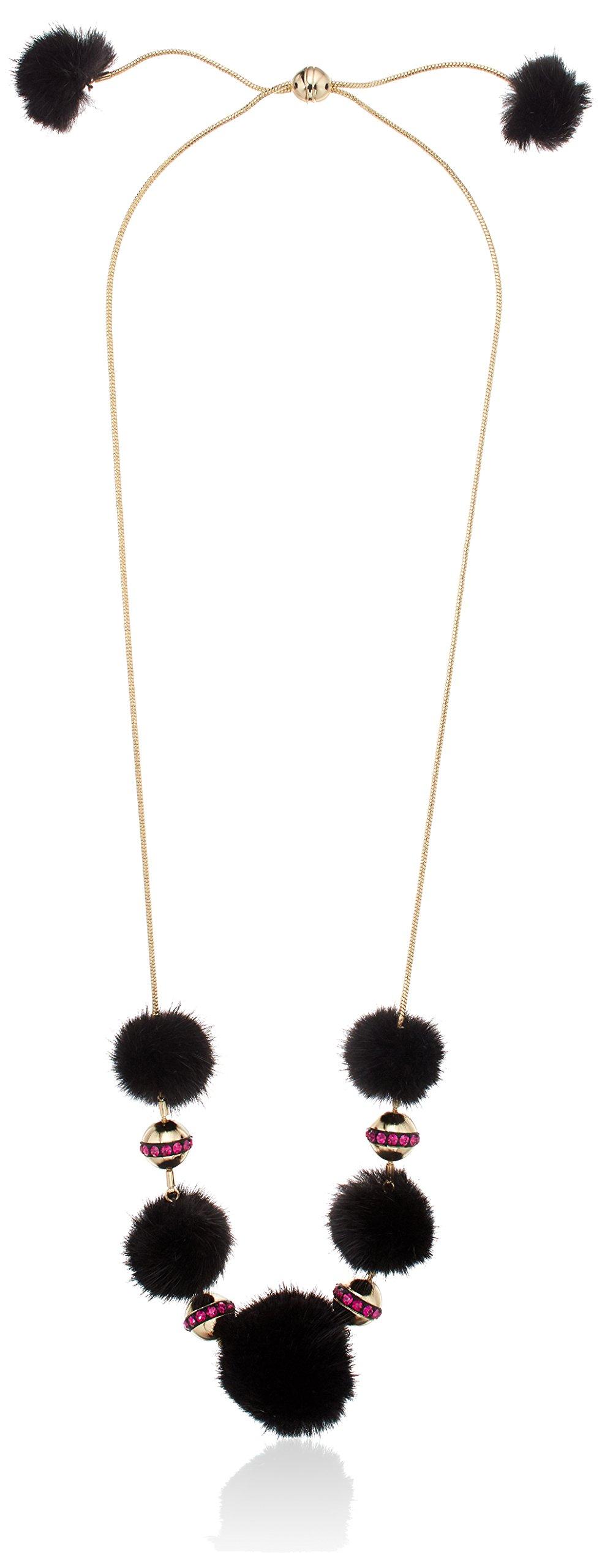 Trina Turk ''Midnight Studio'' Fur Pom Pom Adjustable Strand Necklace