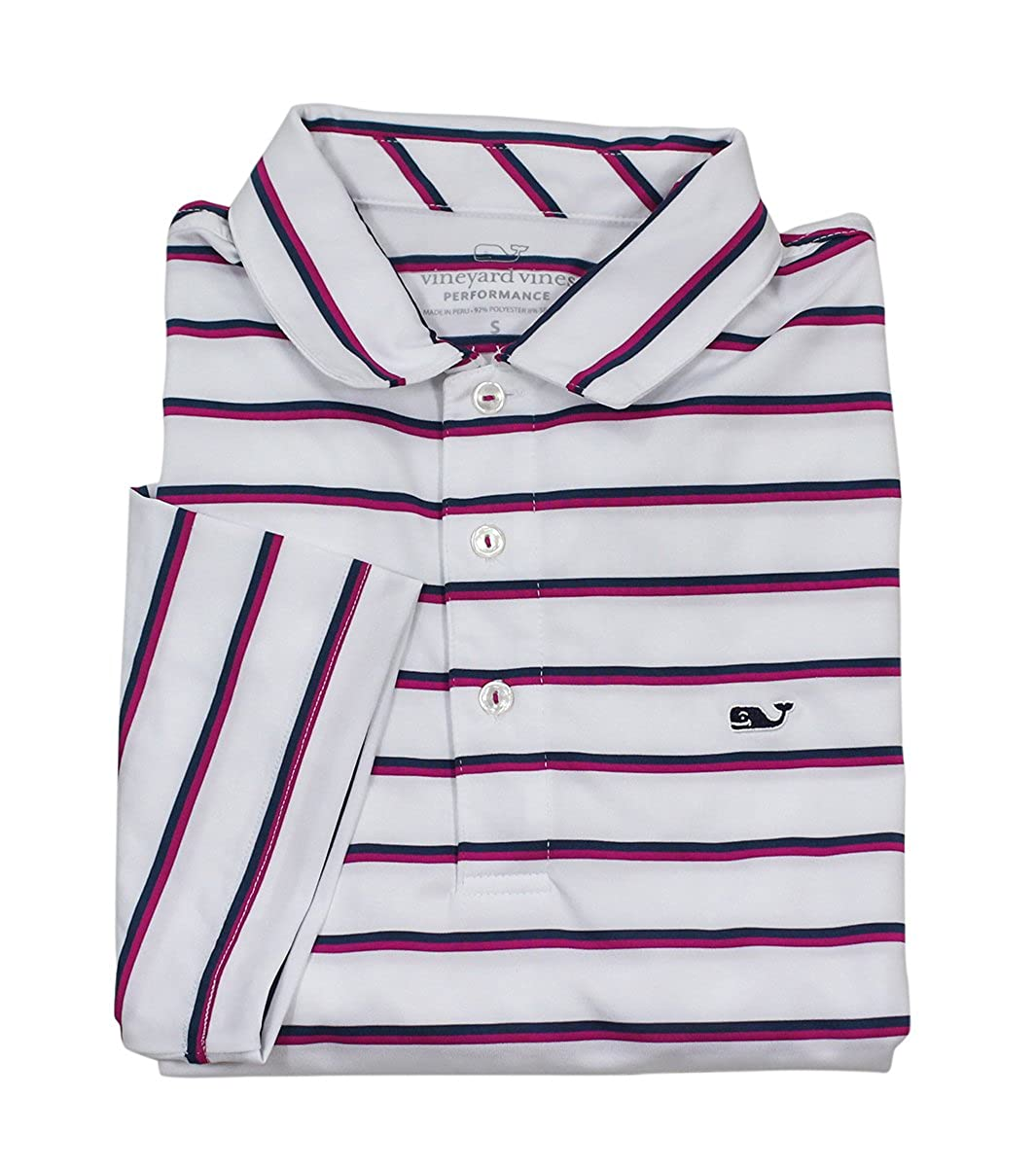 VINEYARD VINES Mens Eshman Stripe Performance Polo White Cap