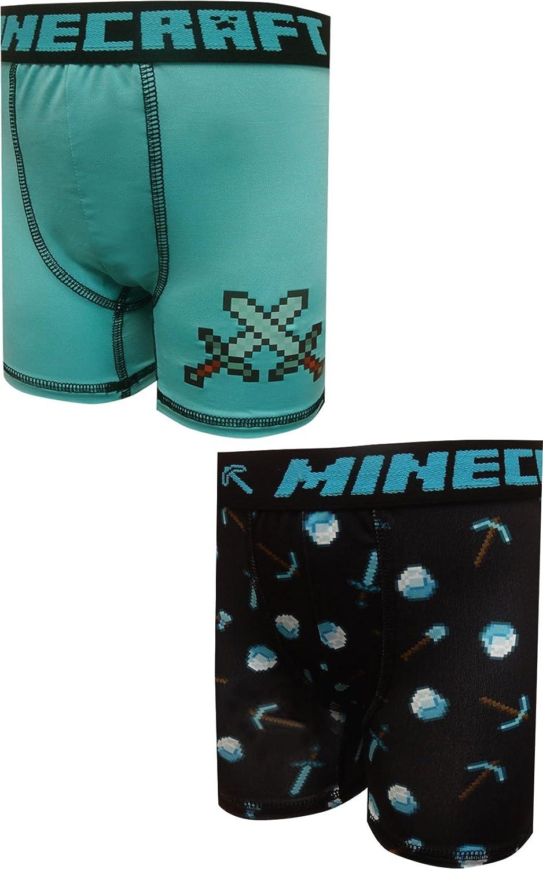 Bioworld Merchandising Boys' Minecraft Diamond Tools 2 Pack Performance Boxer Briefs ZA619ZMNC