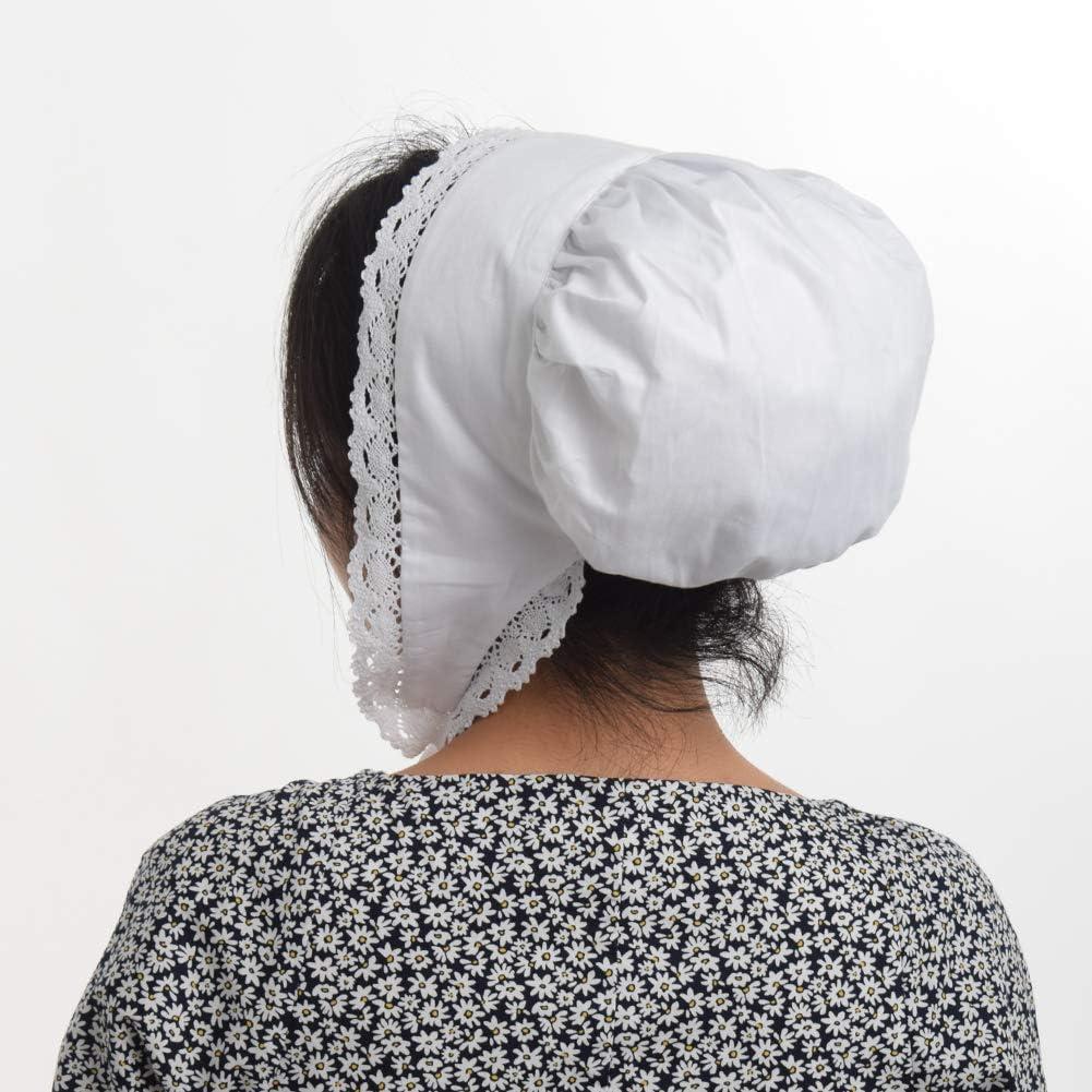 GRACEART Mittelalterliche Damen Bundhaube Kolonialfrau Haube Mittelalter 100/% Baumwolle