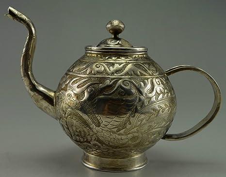20 Siglo Antiguo Vintage pendientes de antiguo de 999 plata maciza tallada a mano Dragon Phoenix