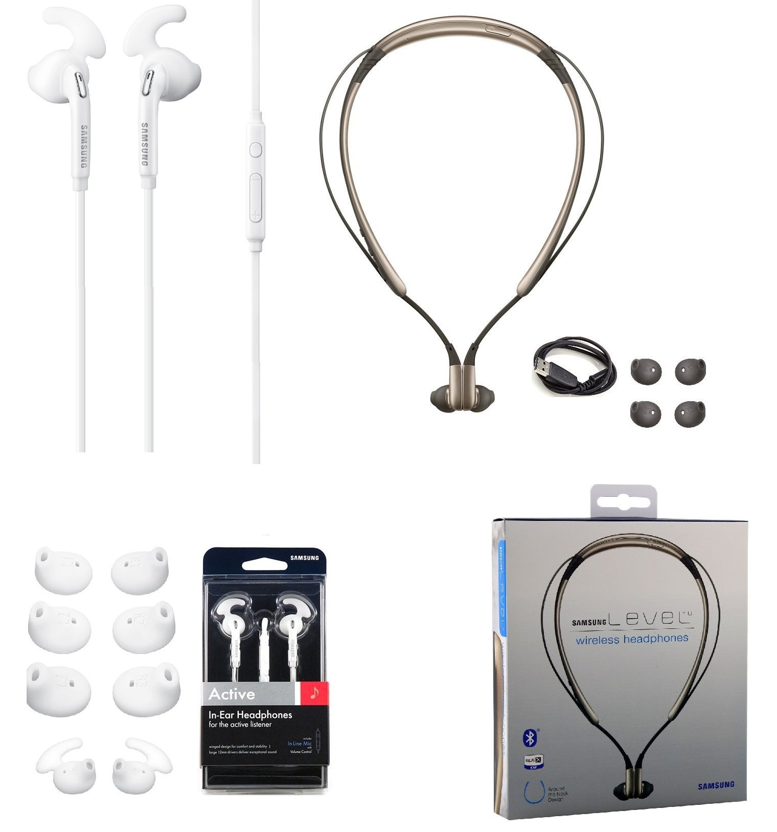 Combo Set Samsung Level U Bluetooth Headset Hd Sound With Samsung Active Headset 3 5mm Jack Universal With Extra Ear Gel Stylus In Retail Packing On Galleon Philippines