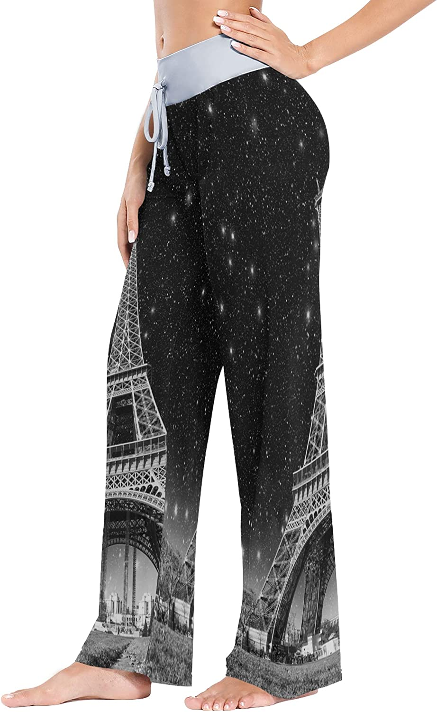 VVIEER Casual Drawstring Print Fantasy Starry Wonderful Night Paris Eiffel Tower Women Yoga Pants Palazzo Sleepwear Home