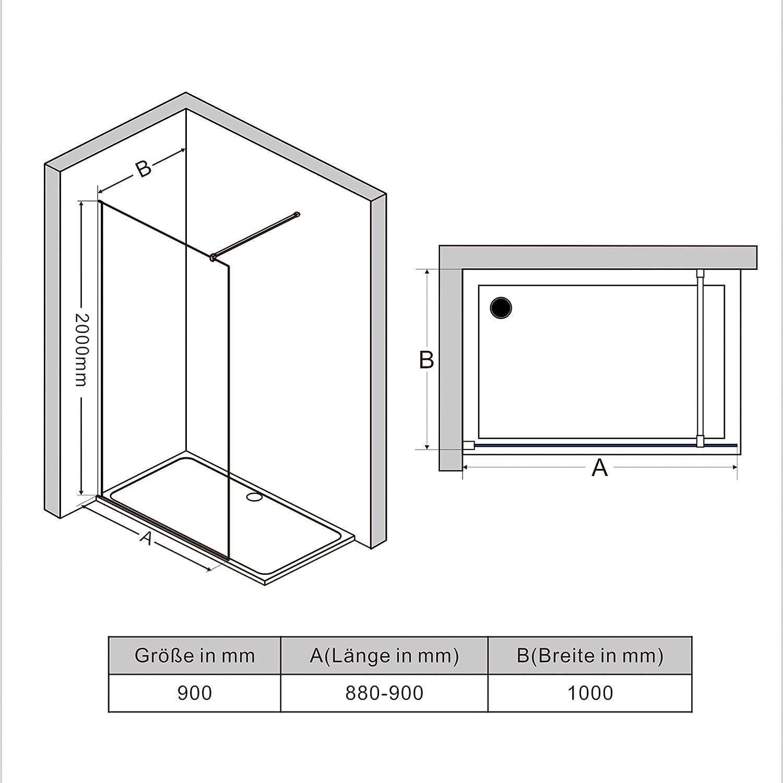 AQUABATOS/® 76x195 cm Duschabtrennung Faltbar Walk-IN Duschwand Glas Duschtrennwand Pendelt/ür aus 6 mm ESG Glas mit Nano Beschichtung