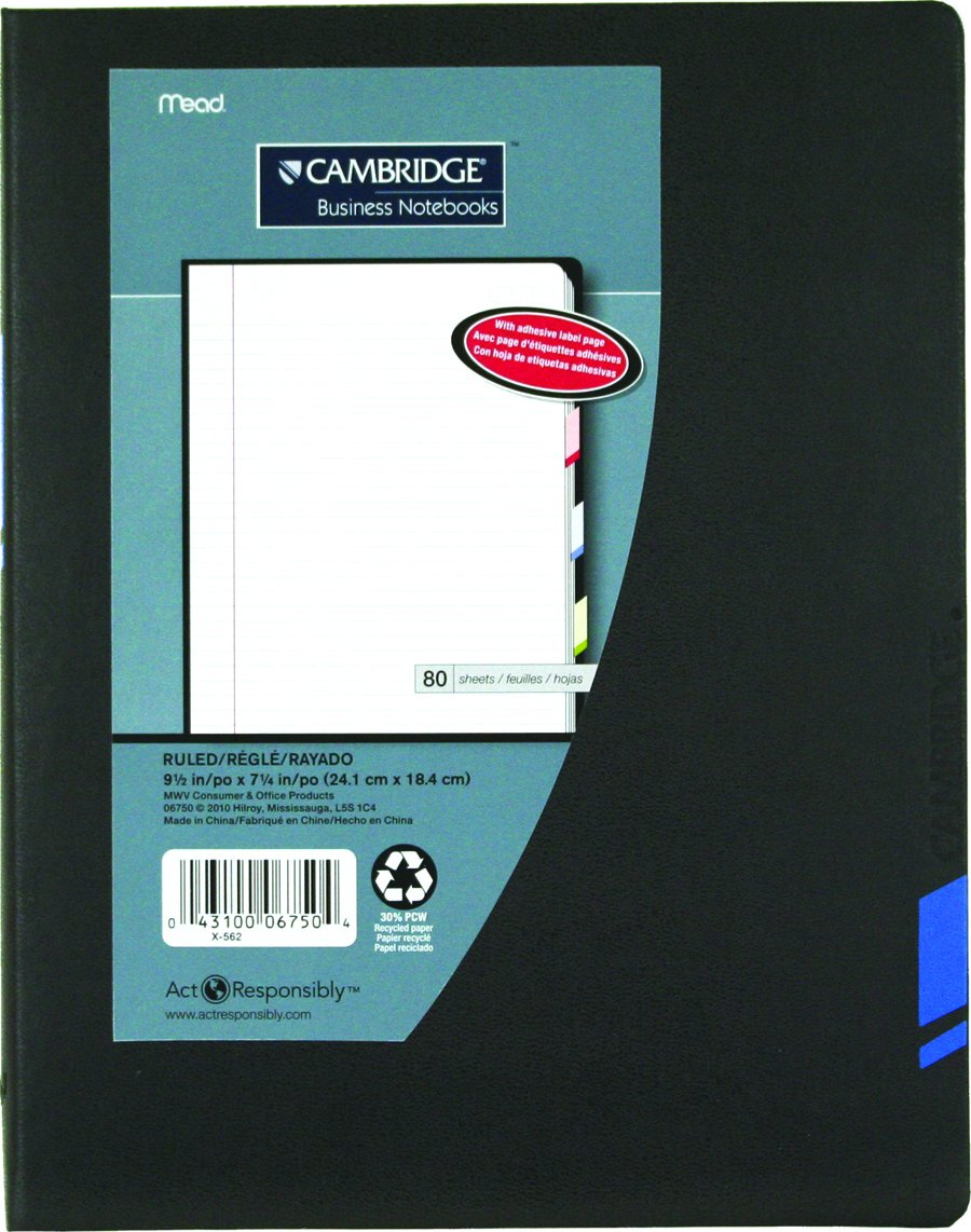 Cambridge Tab Business Notebook, 9-1/2 X 7-1/4 Inches, 80 Pages, Black With Blue Accent (06750)