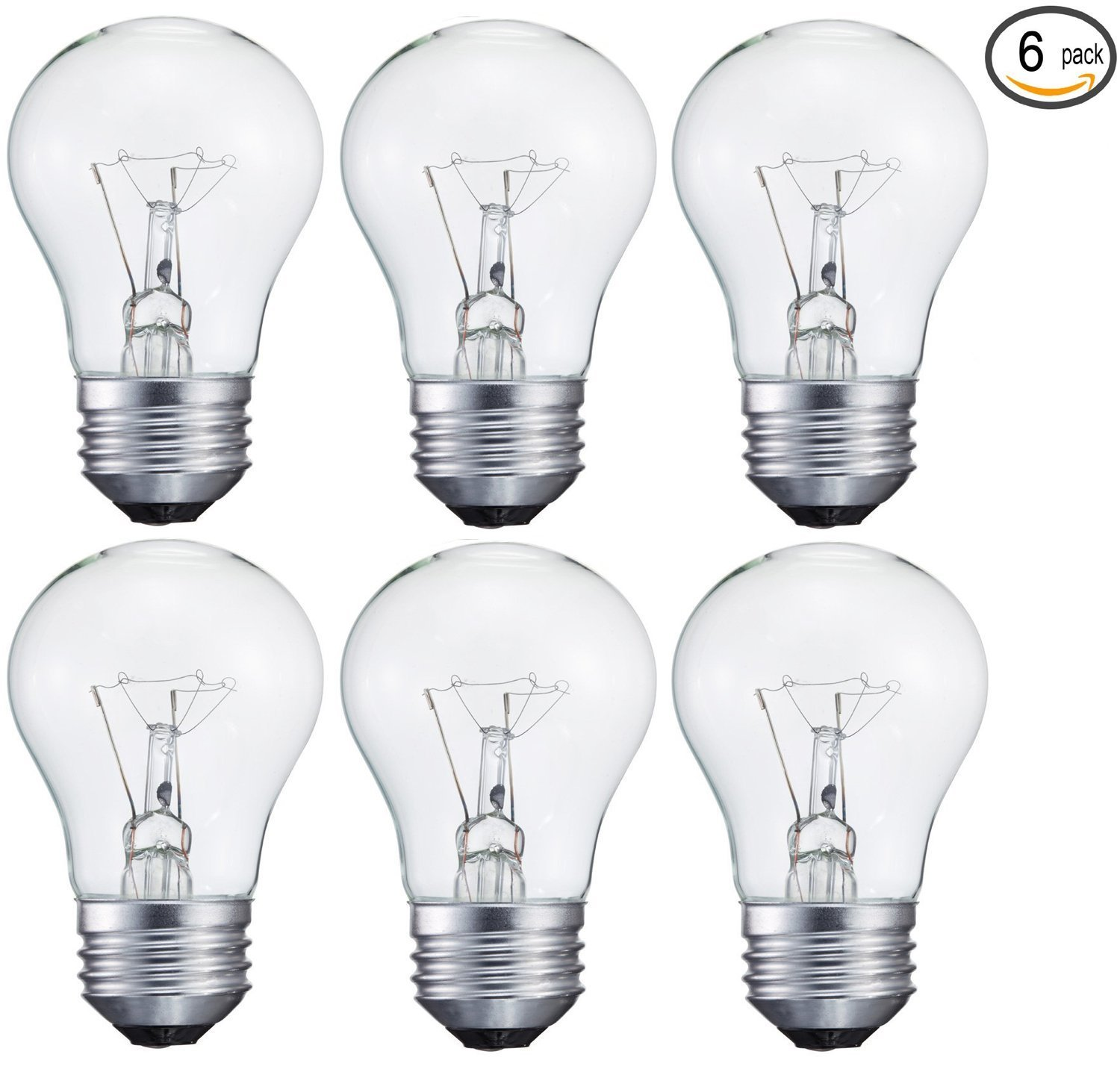 6 pack 15-Watt Decorative A15 Incandescent Light Bulb, Medium (E26 ...