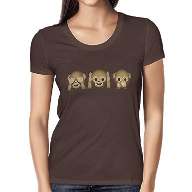 Texlab Three Monkeys Emoji - Damen T-Shirt, Größe S, Braun