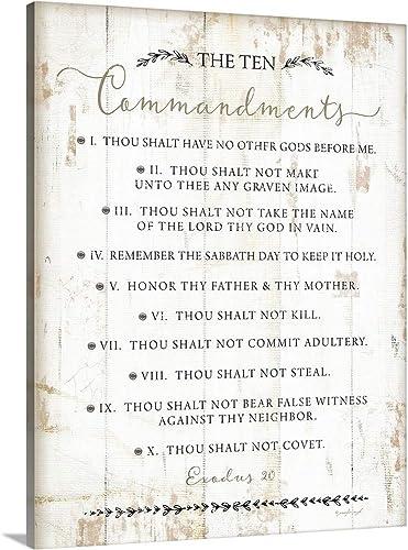 The Ten Commandments Canvas Wall Art Print