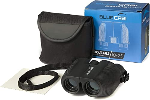BlueCabi Compact 10×25 Binoculars Lightweight, Foldable, High Powered Binoculars for Adults Kids w Powerful 10x Long Distance Magnification, Easy Focus Knob, Texture Grip, Neck Strap Travel Bag
